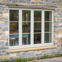 Flush casement hardwood window in a new build property.